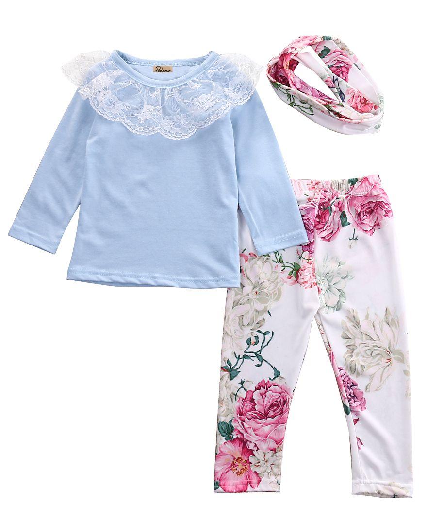 3 pièces nouveau-né enfants bébé filles couverture en dentelle t-shirt + Floral pantalon + bandeau tenues, printemps/automne bébés fille tenue ensemble vêtements