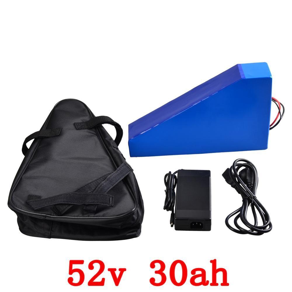 52 v dreieck batterie 52 v 30AH Lithium-batterie 52 v 2000 watt verwenden samsung zelle elektrische fahrrad batterie mit 50A BMS + 58,8 v ladegerät + tasche