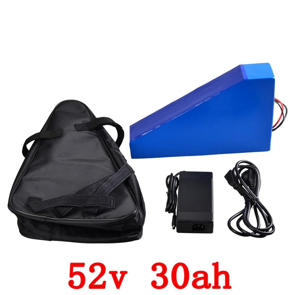 52V 30AH E-Bike Lithium Battery Pack 52V 2000W Triangle Battery Use Samsung cell built ni 50A BMS with Charger and bag free