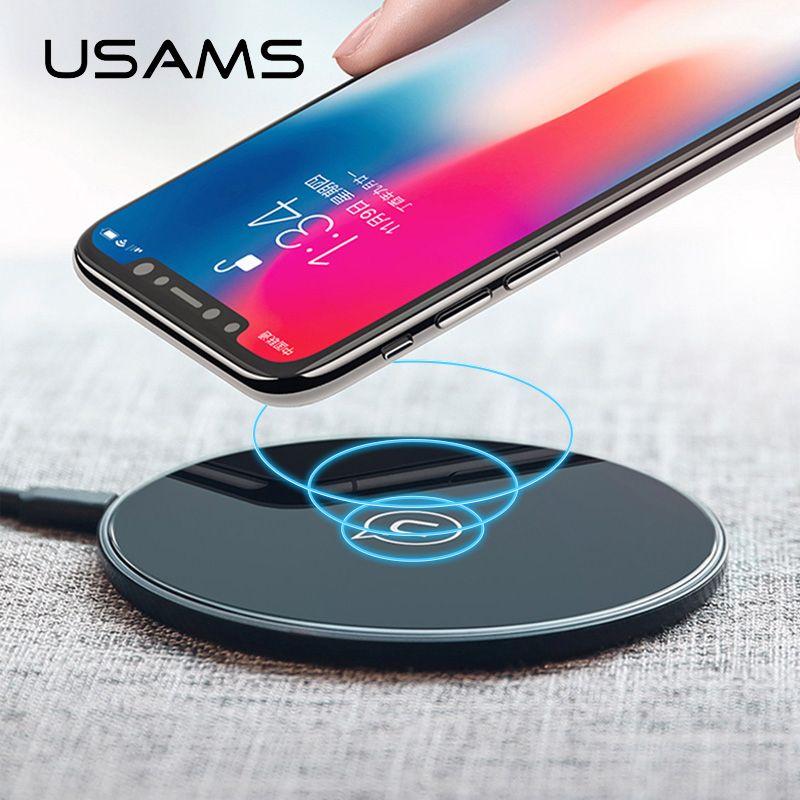 USAMS Qi PC Glas Drahtlose Ladegerät 10 watt Schnelle Lade Samsung Galaxy S9 S8 Plus S7 Hinweis 8 Intelligente Lade pad für Für iPhone X 8