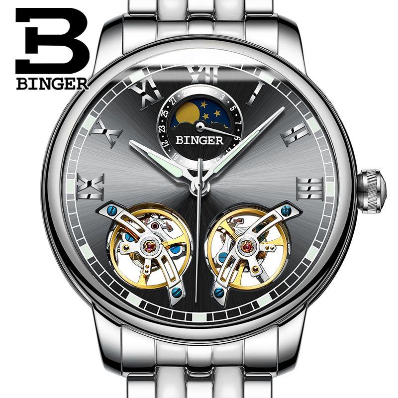 2018 NEW arrival men's watch luxury brand BINGER sapphire Water Resistant toubillon full steel Mechanical clock B-8607M-2