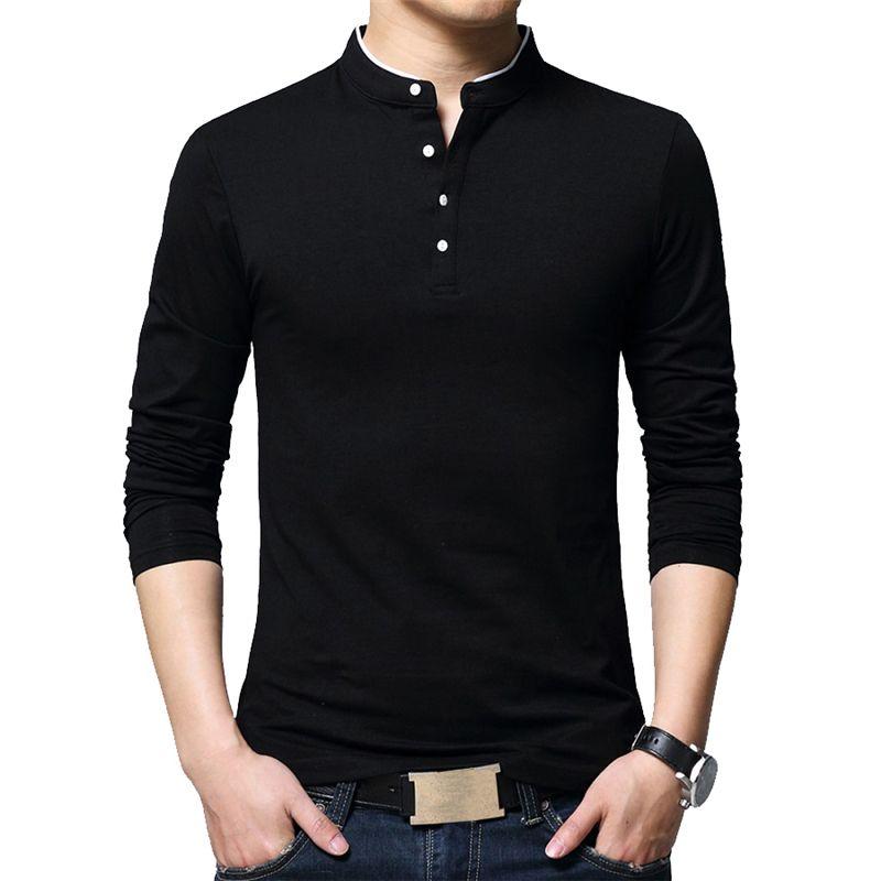 BROWON Marke Herbst Casual Herren T Shirts Mode 2018 Verkauft Farbe Mandarin Kragen Langarm T-Shirt Luxus Plus Größe M-5XL