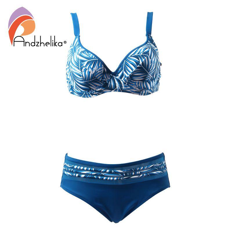 Andzhelika Bikinis Women Swimsuit 2018 Summer Print Large Cup Bikini Set Plus Size Swimwear Sexy Mesh Bathing Suit Biquini XL