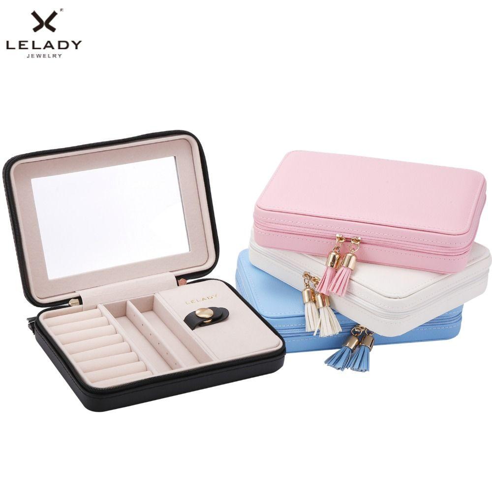 LELADY 17*4*12 cm Petite Boîte à Bijoux Portable Voyage Organisateur Boîte à Bijoux avec Miroir En Cuir Bijoux De Stockage boîte de Bijoux cas