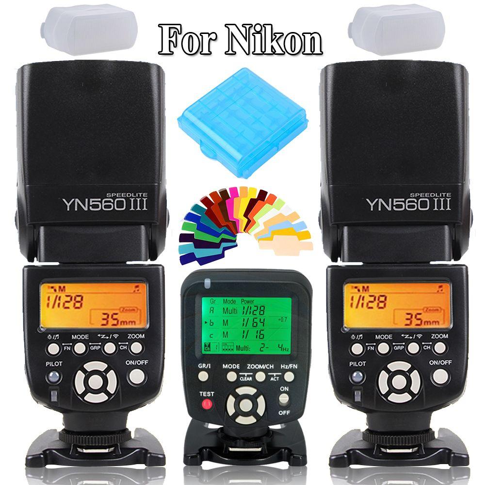Yongnuo YN560III YN-560 III Wireless Flash Speedlite Speed Light X2 +YN560 TX Flash Trigger Controller for Nikon DSLR Cameras
