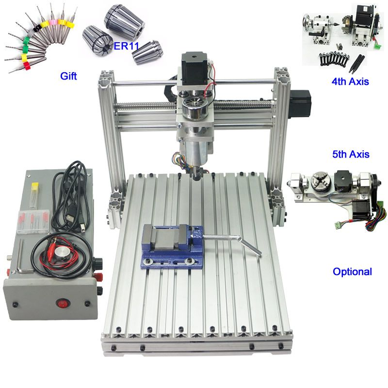 Mini CNC Holz Drehmaschine Maschine 400 watt 3 achsen 4 achsen 5 achsen CNC 3040 Gravur Fräsen Maschine