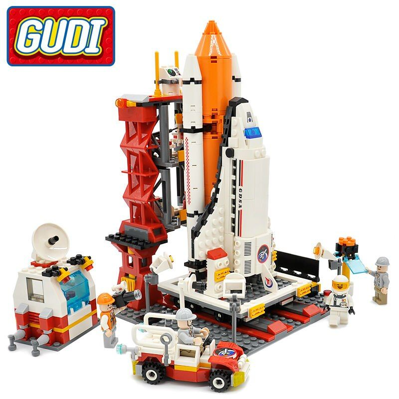 GUDI Legoings <font><b>Block</b></font> City Spaceport Space Shuttle Launch Center Building <font><b>Block</b></font> 679pcs Classic Brick Educational Toys For Children