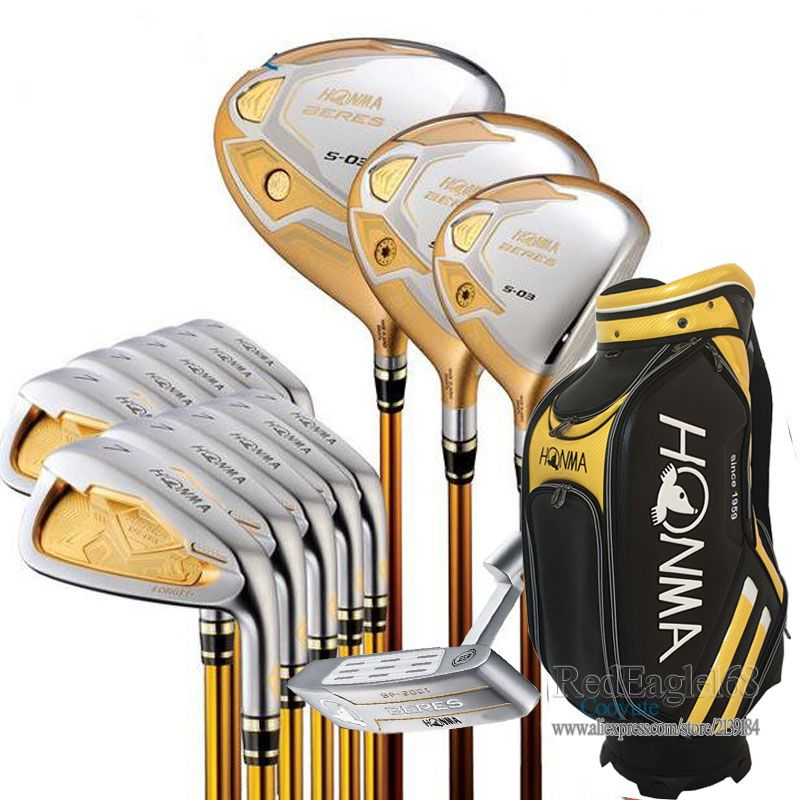 New Compelete club set HONMA S-03 4 star Golf clubs Driver+3/5 Fairway wood+irons+bag+putter Graphite Golf shaft free shipping