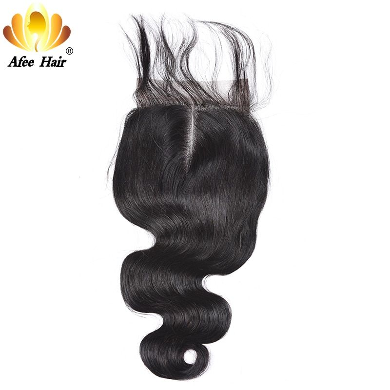 AliAfee Hair Lace Closure Brazilian Body Wave Remy Human Hair 4*4 <font><b>Swiss</b></font> Lace With 130% Density with Baby Hair Closure 8''-20''