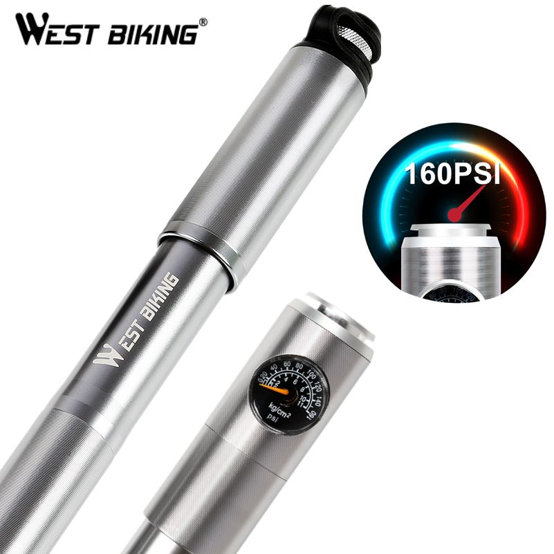 WEST BIKING Bicycle Mini Hand Pump With Gauge Aluminum Alloy Tire Inflator Bike Performance Tyre Pump Portable Cycling Pumps