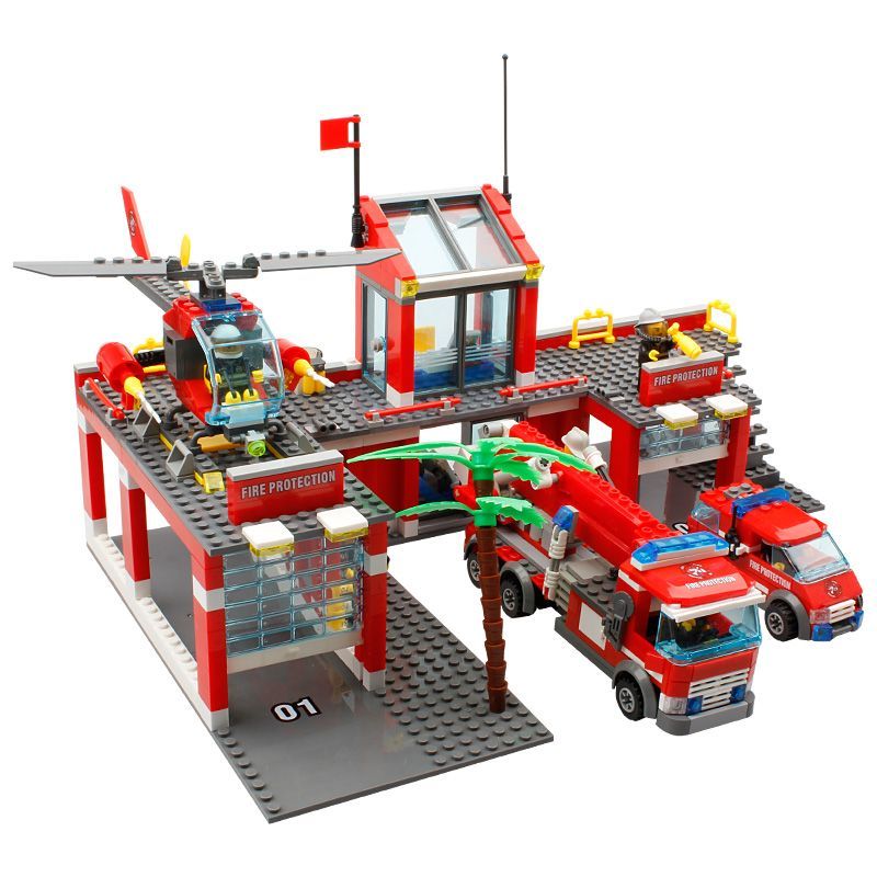 KAZI New 774pcs City Fire Station Truck Helicopter Firefighter minis Building Blocks Bricks Toys brinquedos toys for children