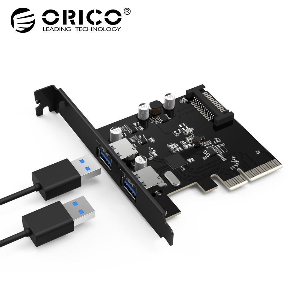 ORICO 2 Port USB3.1 PCI-E Adaptateur PCI Express Carte D'extension 15-Pin Connecteur D'alimentation pour Ordinateurs de Bureau PC
