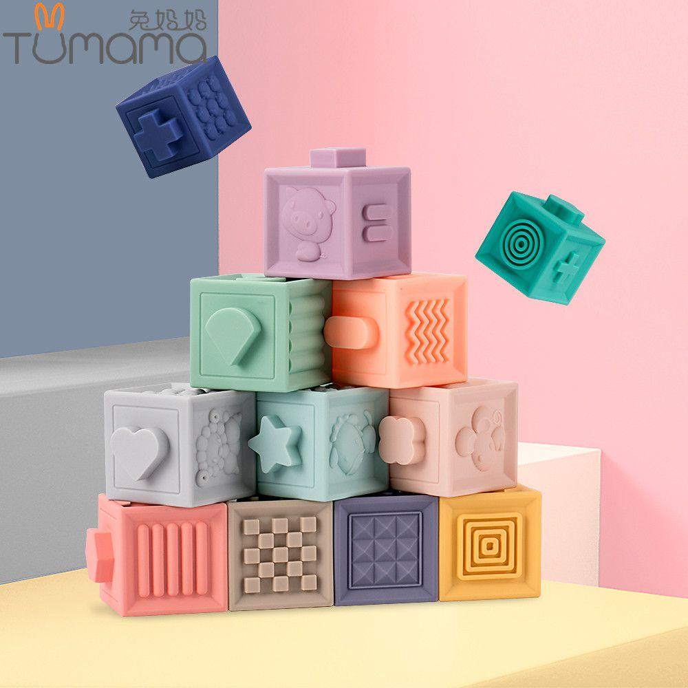 Tumama 12 pcs/ensemble Bébé Saisir Jouet blocs de construction 3D Tactile Main Balles Molles Bébé Massage En Caoutchouc Anneaux De Dentition Compression Jouet boule de bain Jouets