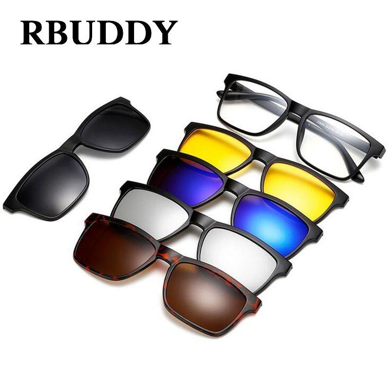 RBUDDY aimant lunettes de soleil hommes polarisés clip sur lunettes de soleil conduite carré femmes lunettes claires cadre vision nocturne lunettes lunettes