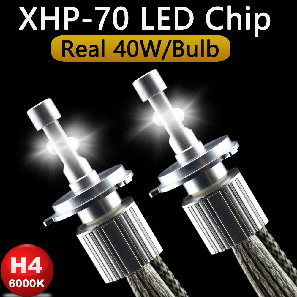 P70 XHP70 Car LED Headlight H4 Hi Lo 55W XHP-70 <font><b>chips</b></font> 6600LM H4-3 High Low Beam Motorcycle Headlights Bulb H7 H11 9005 9006 9012