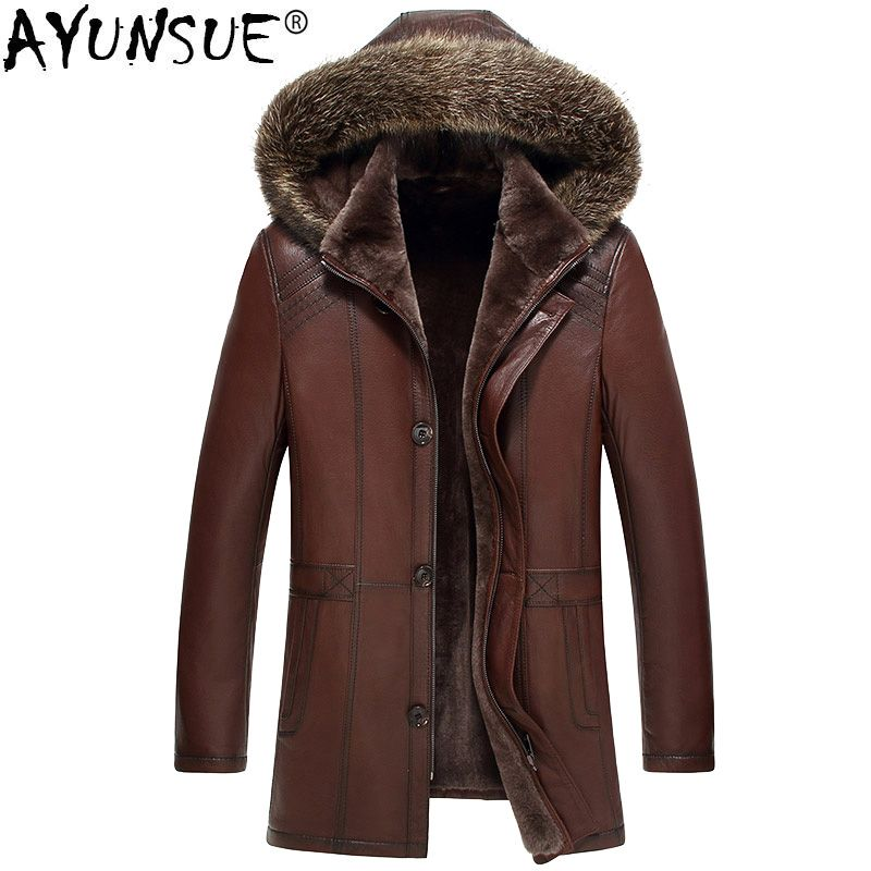 AYUNSUE Genuine Leather Jacket Men Real Pure Natural Fur Coat Men Real Raccoon Fur Collar Jackets Sheepskin Leather Jacket MY736