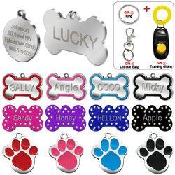 Grabado etiquetas de perro mascota gato personalizado ID nombre etiquetas para mascotas Paw personalizada forma de hueso regalo s l