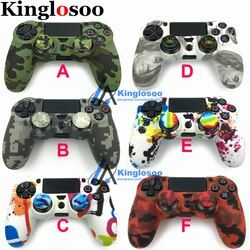 Special Soft silicone gel skin protective cover rubber case for Playstation 4 PS4 Pro Slim game controller w/ 2 stick grip caps