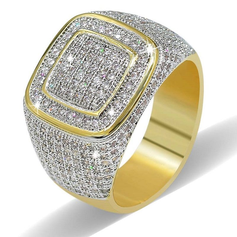 TOPGRILLZ Rings For Men Women Iced Out High Quality Cubic Zirconia Rings With Jewelry Box Hip Hop/Punk Gold Ring For Love, Gift