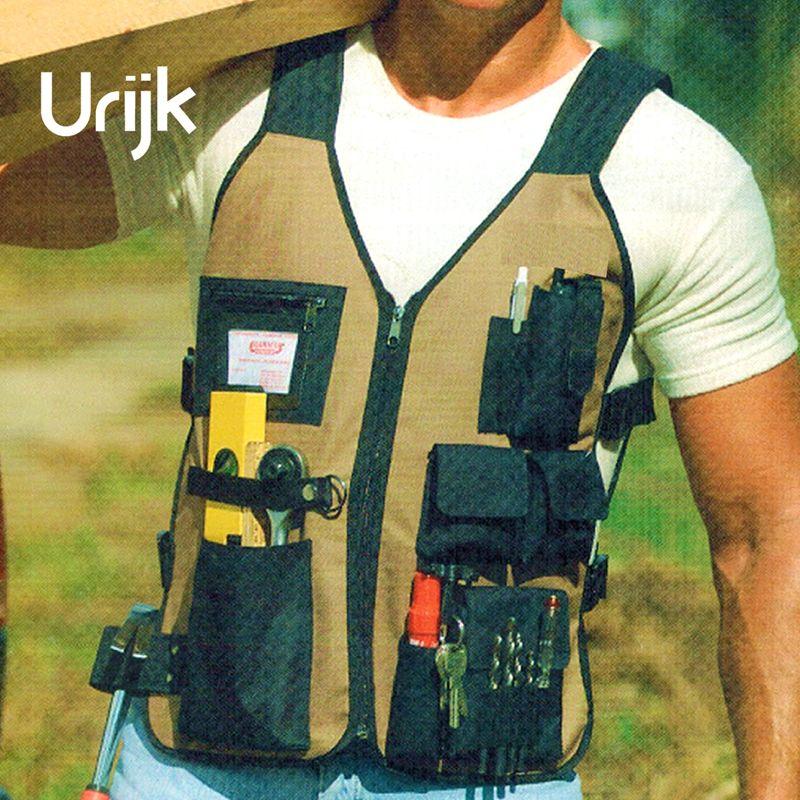 Urijk 2018 New Oxford Canfas Vest Professional Outdoor Gardening Work Tool Bag Toolkit Hand Tools Wearable Multifunction Large