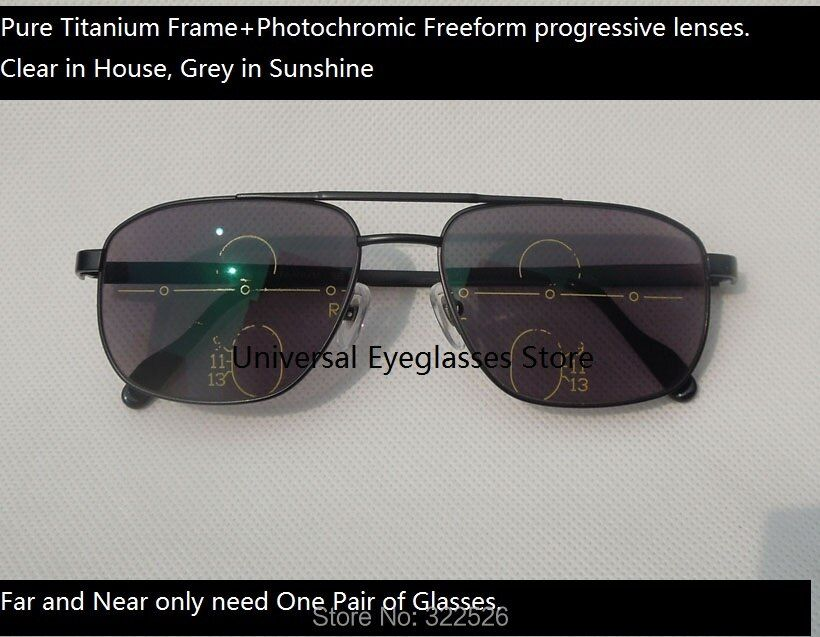 Pure titanium glasses frame+photochromic freeform progressive lenses; photochromic multi-focal presbyopia sunglasses;;
