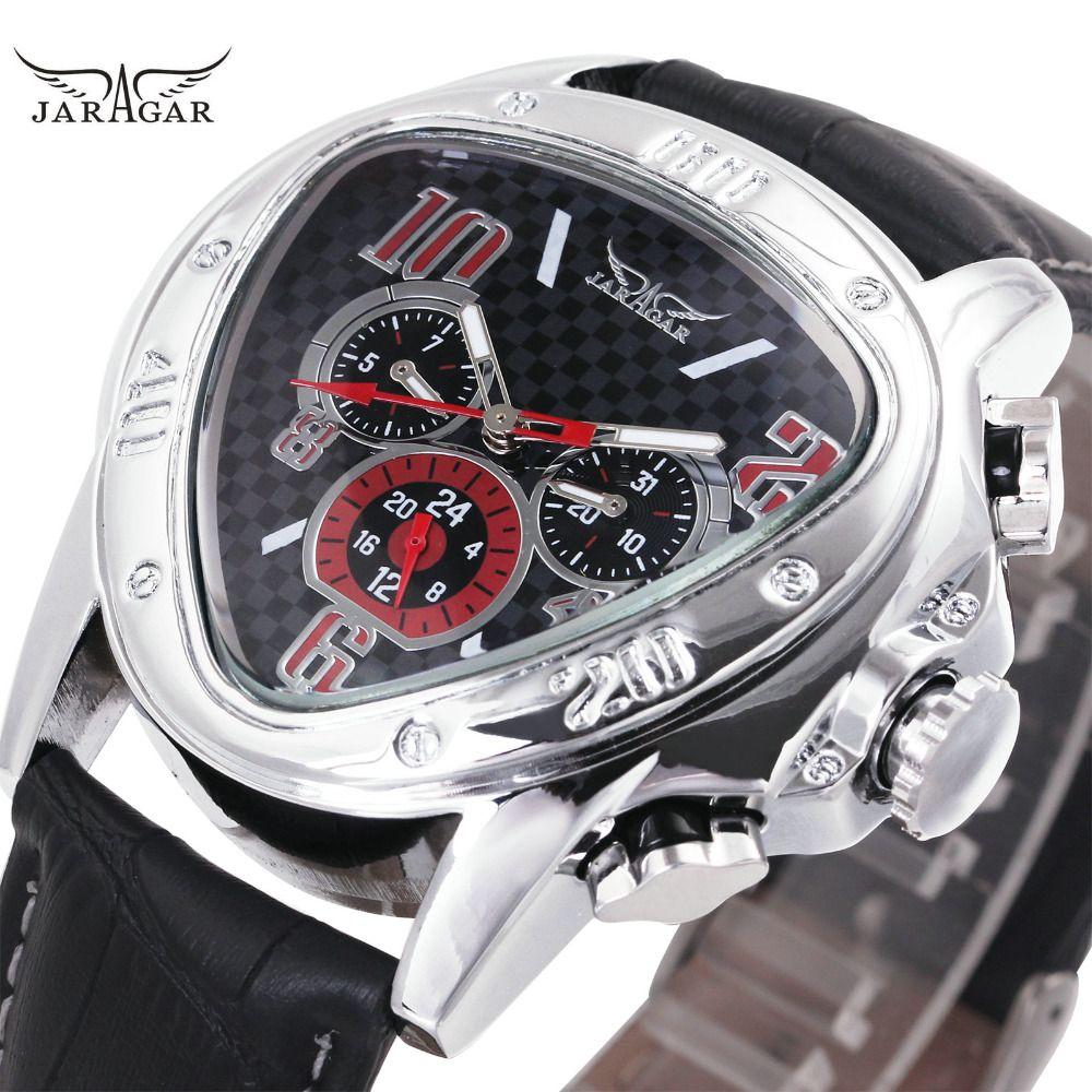 Fashion Luxury Men Automatic <font><b>Mechanical</b></font> Wrist Watches Top Brand WINNER Triangle Men's Watches 3 Sub-dials 6 Hands reloj hombre