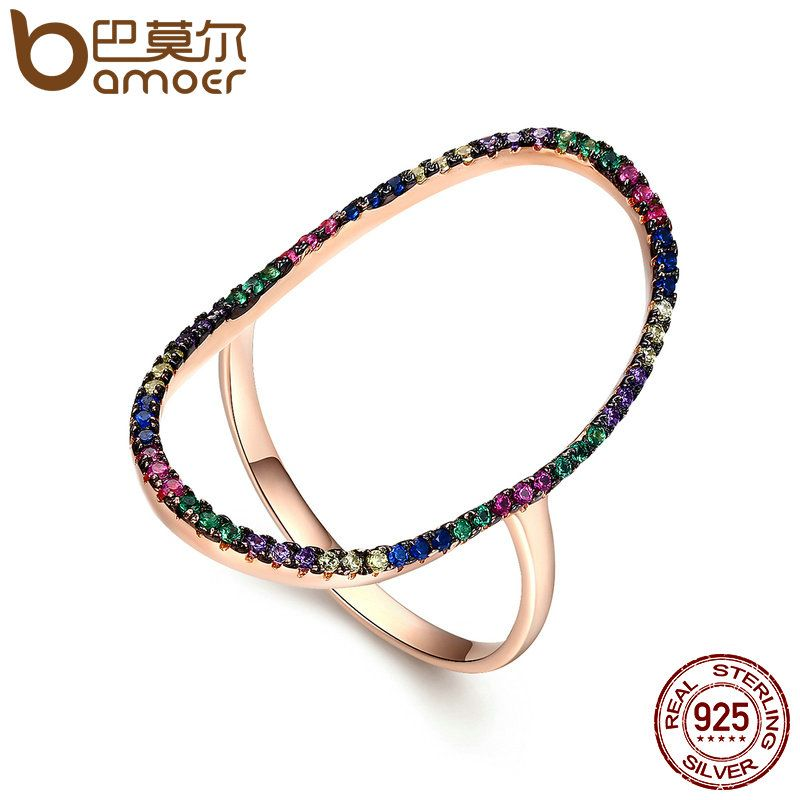 BAMOER Real 100% 925 Sterling Silver & Rose Gold Bright Halo Crystal Clear CZ Finger Rings for Women Wedding Jewelry SCR121