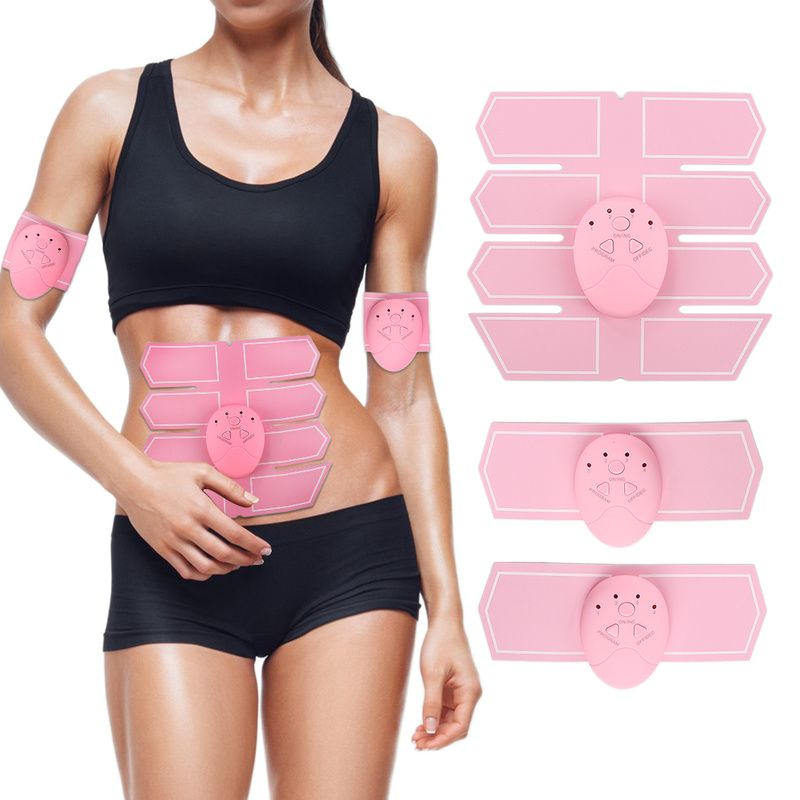 Female pink abdominal muscle trainer sticker massager stimulation pad Abs slim sports sticker fitness gym equipment for home