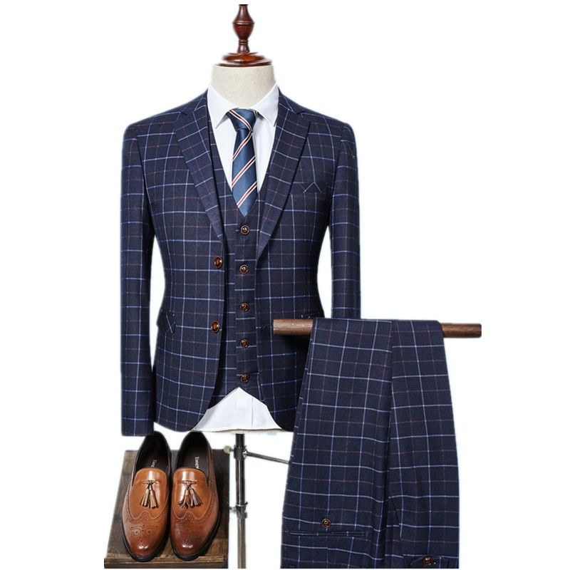 2018 new arrival High quality single Breasted plaid casual suit men,men's Business suits plus-size S -3XL Free shipping