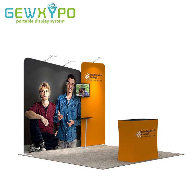 Ausstellung Display Tragbare Werbung Einfach Stoff Banner Aluminium Rohr Rahmen Wand Mit Podium, Vorne Regal Und Drei Lichter