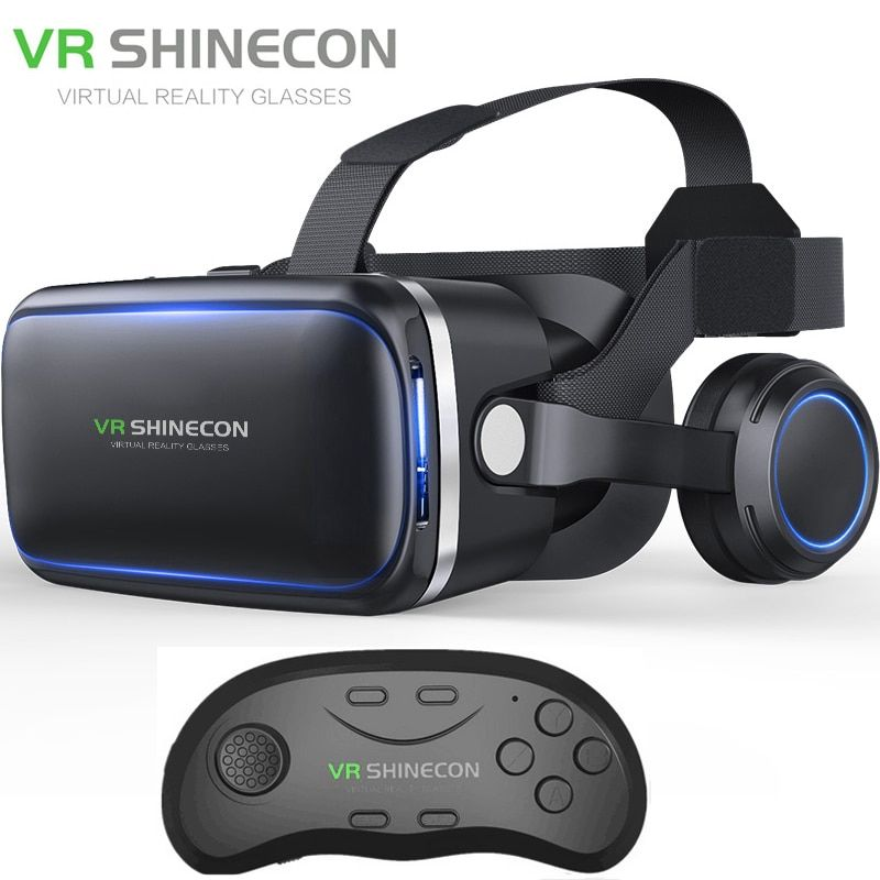 Vritual Reality Shinecon 6.0 Bluetooth Headset VR Glasses Helmet 3D Box For 4.5-6.0 Smartphones With Bluetooth Controller