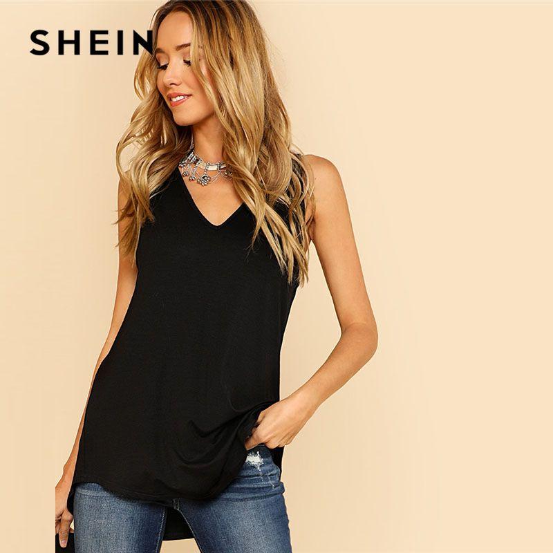 SHEIN V <font><b>Neck</b></font> Dolphin Hem Tank Top Black Asymmetrical V <font><b>Neck</b></font> Women Plain Vest 2018 Summer New Clothes Casual Long Top Vest