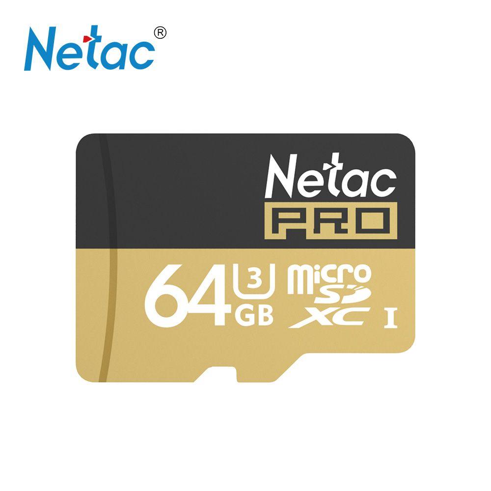 Netac P500 Pro Class 10 64G/128GB Micro SDXC Micro SD Card TF Flash Gold Memory Card Data Storage UHS-I U3 High Speed Up 90MB/s