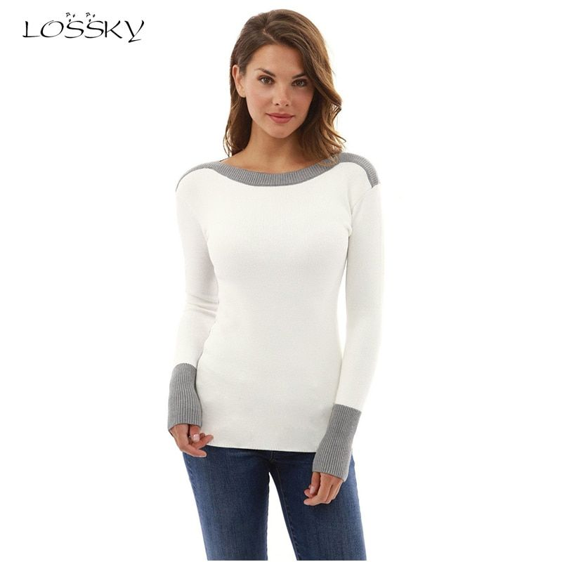 LOSSKY 2017 Autumn Winter Long Sleeve Patchwork T-shirt Solid Casual O-neck Women Tops Tees T-Shirts Female T shirt For Women