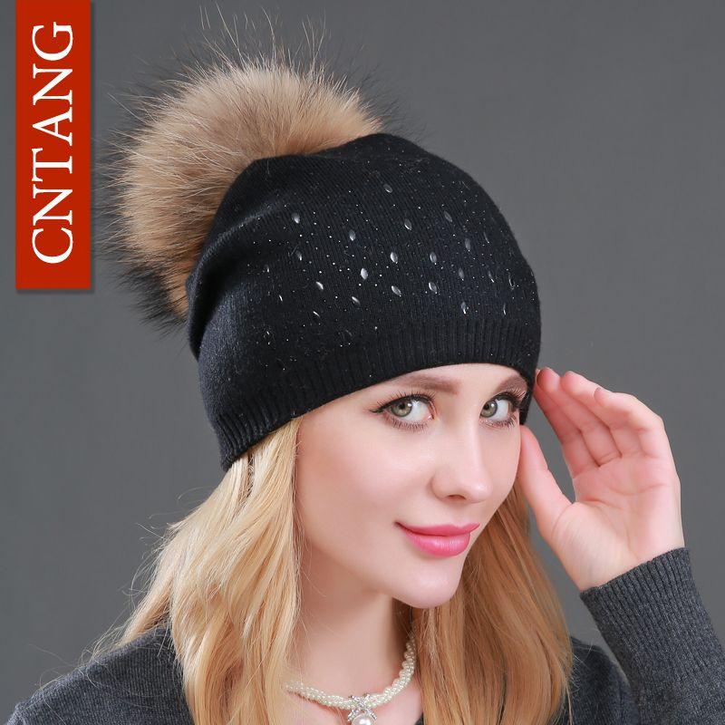 Winter Wool Women Beanies Rivets Decoration Pompon Fur Hats Fashion Natural Raccoon Fur Caps Female Warm <font><b>Cashmere</b></font> Knitted Hat