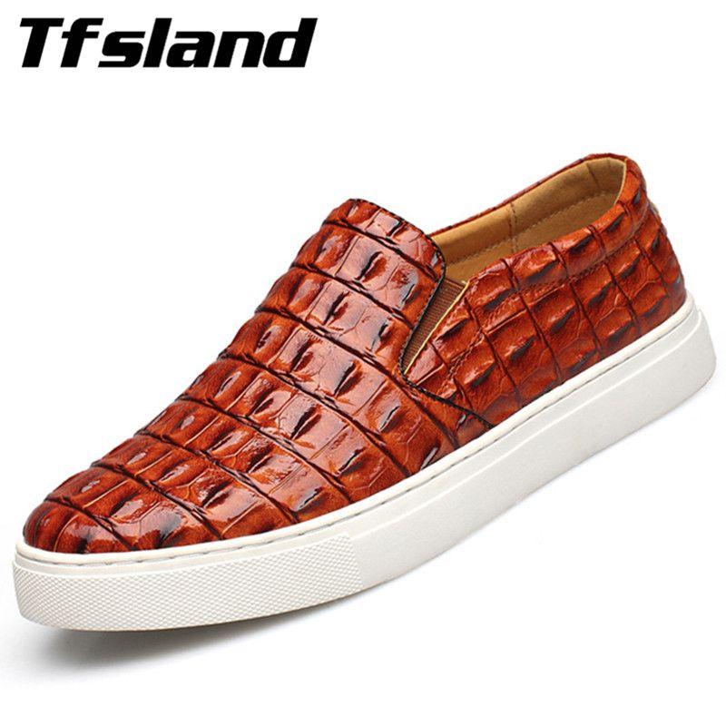 Tfsland chaussures de conduite en cuir de Crocodile souple de luxe pour hommes nouveau printemps chaussures de marche sans lacet respirantes chaussures de sport grande taille 47