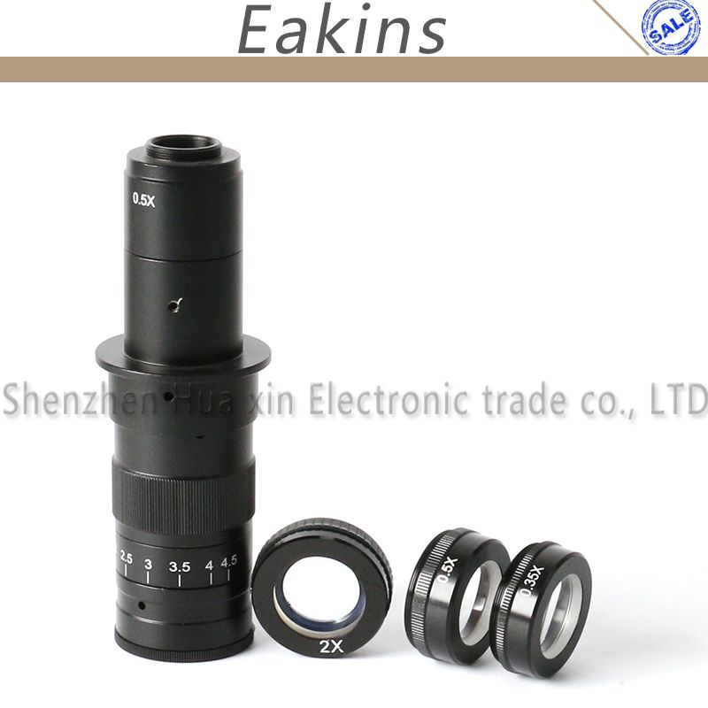 Adjustable 180X Magnification Zoom C-mount Lens+3pc 0.5X 2X 0.35X Barlow Auxiliary Lens for Industry Microscope Camera Eyepiece