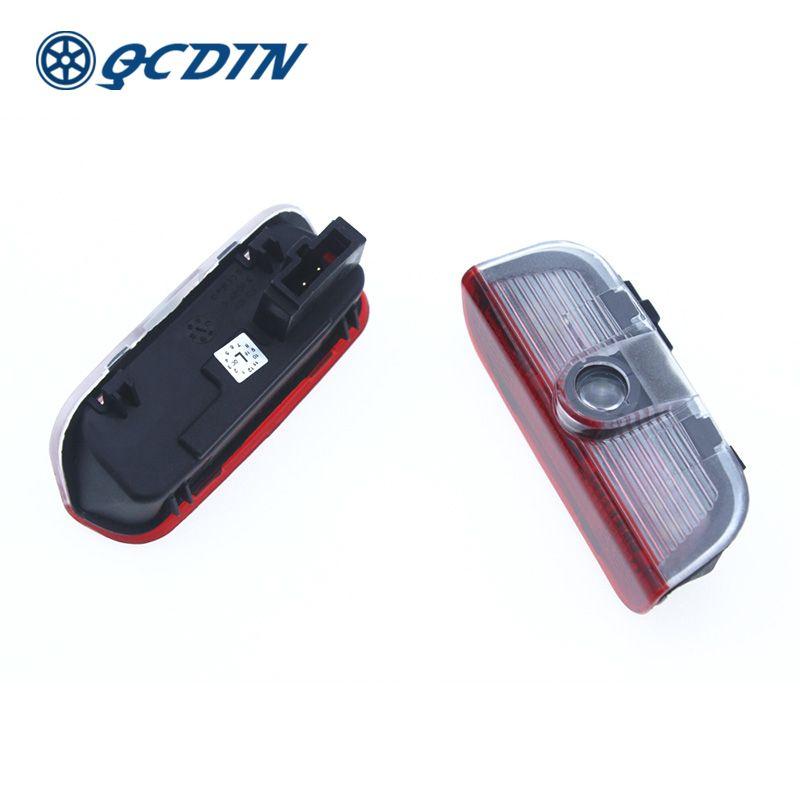 QCDIN for Volkswagen LED Car Welcome Light Door Logo Courtesy Lamp Projector Light for Golf Passat CC Scirocco Beetle Bora