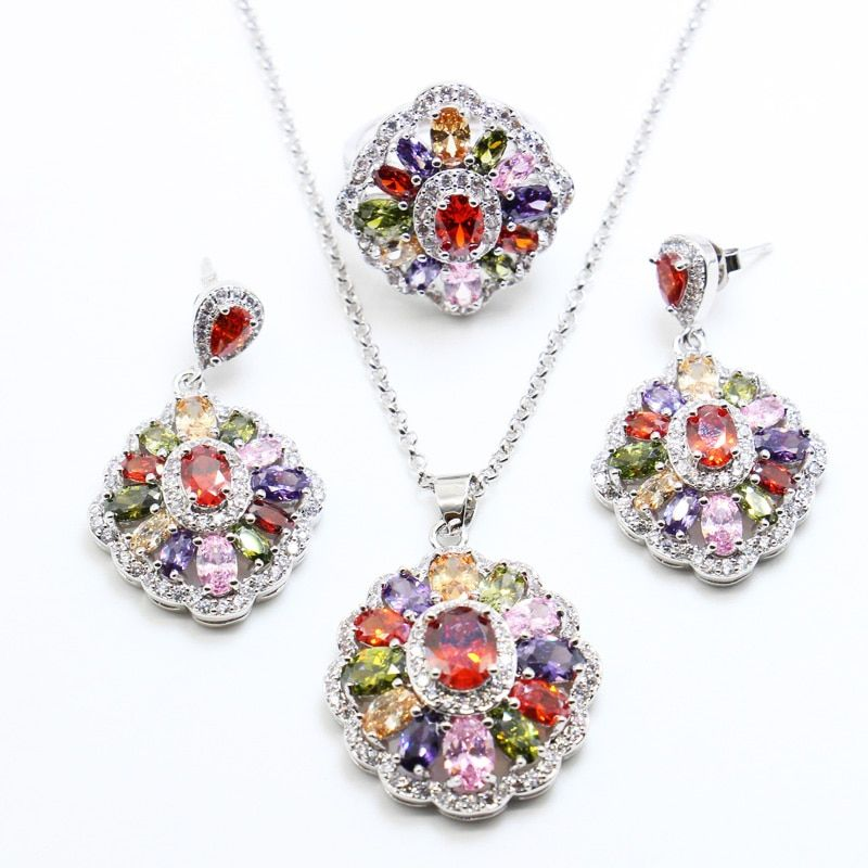 Multicolor Stones White 925 Silver Jewelry Sets For Women Drop Earrings/Ring/Pendant /Necklace Free shipping