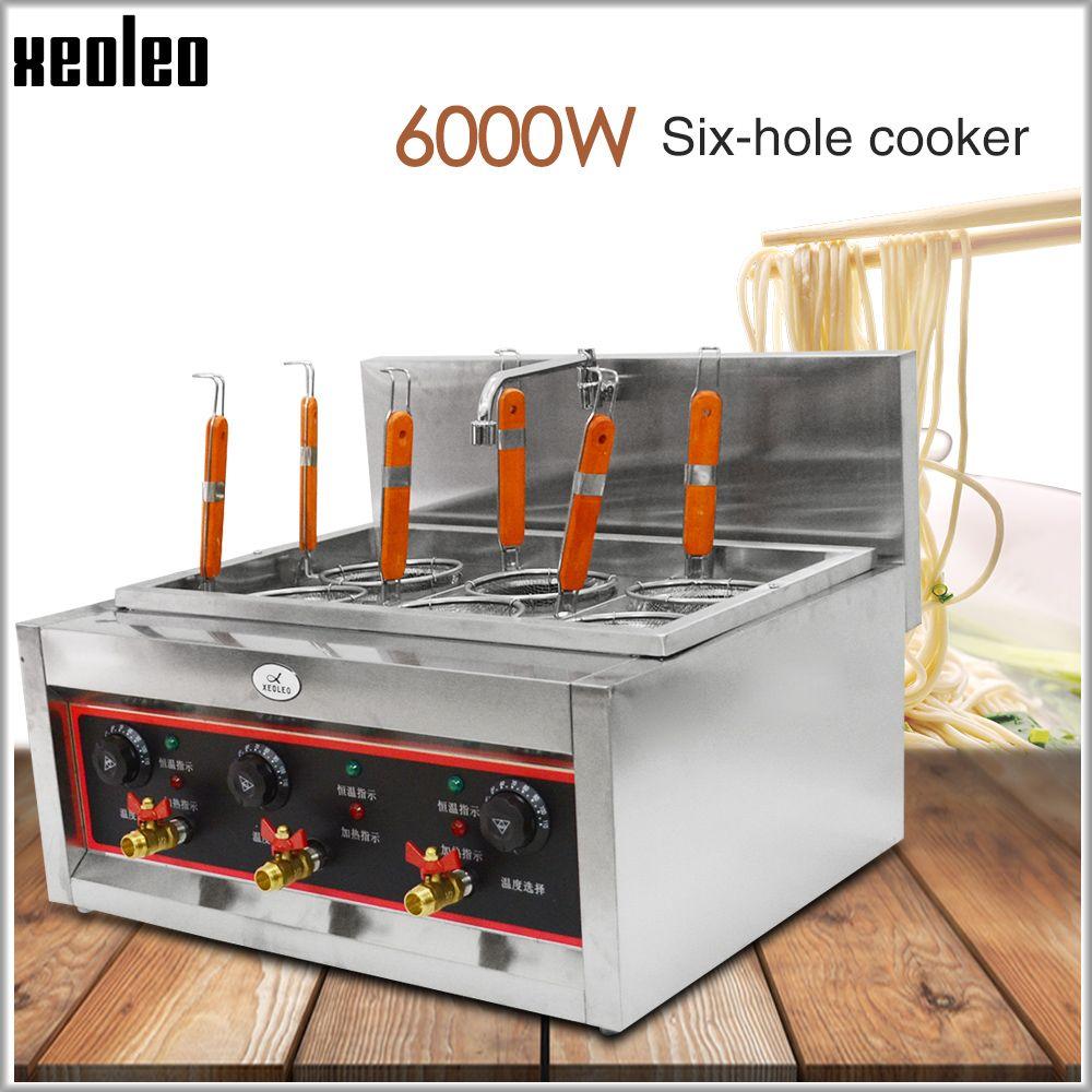 XEOLEO Elektrische nudel maker Nudel suppe herd Pasta kessel herd edelstahl Kommerziellen 6 löcher Kochen nudel maschine 6KW