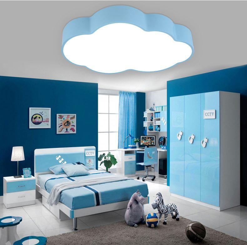 Moderne kurze kinder schlafzimmer dekoration malen blau wolke design eisen decken lampe acryl lampenschirm LED beleuchtung