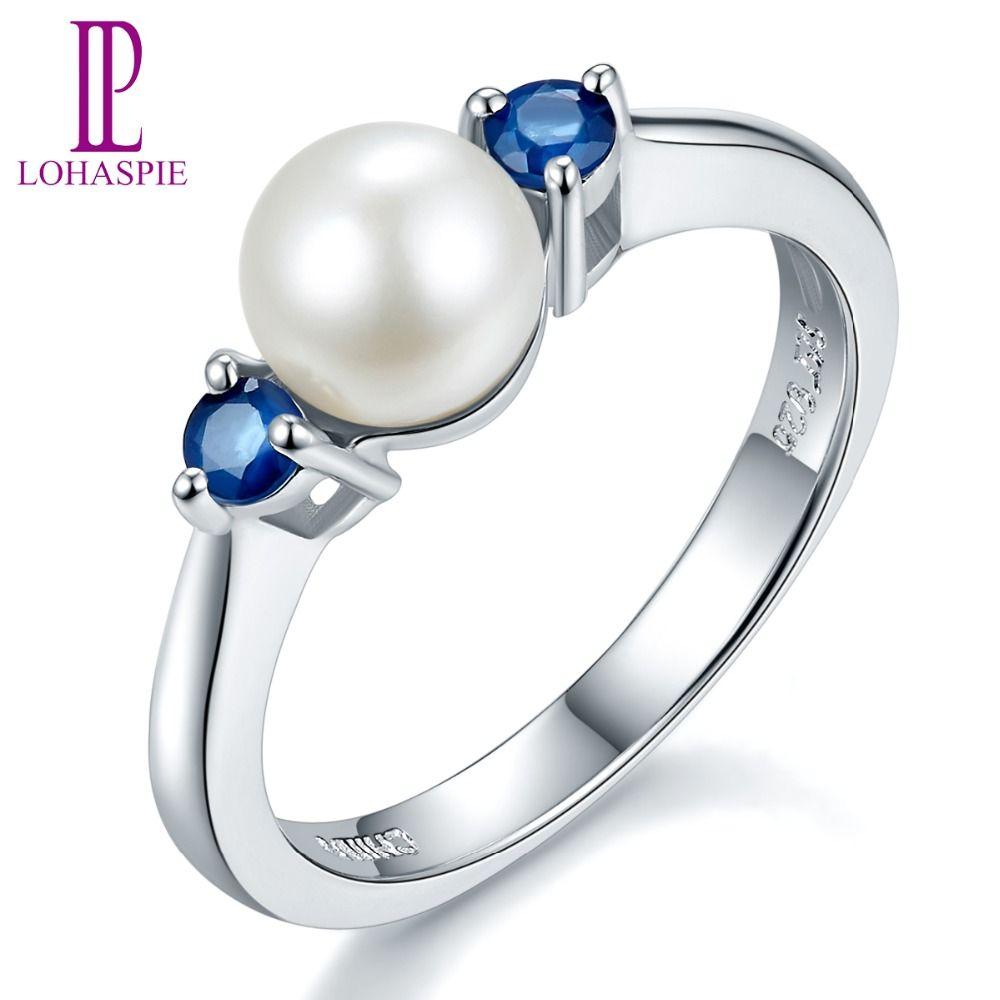 Lohaspie Solide 925 En Argent Sterling 100% Naturel Perle D'eau Douce et Bleu Saphir Anneau De Mariage Pour Les Femmes de Beaux Bijoux De Pierre Gemme