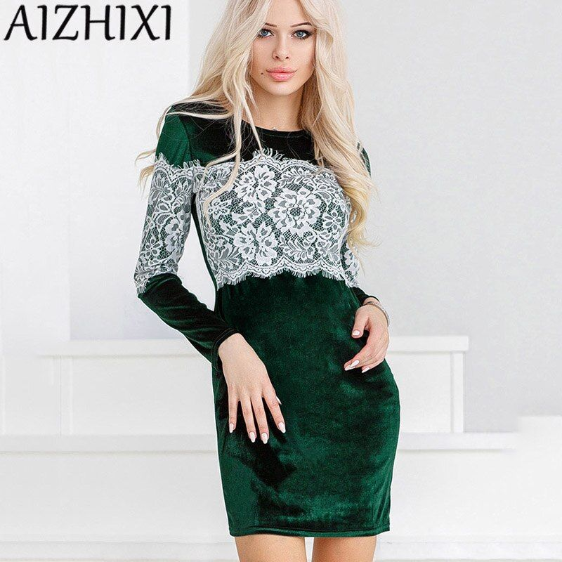 AIZHIXI Autumn Winter Velvet Sexy Sheath Lace Splicing Bodycon Dress 2017 Women's Fashion Long Sleeve O-Neck Party Dresses