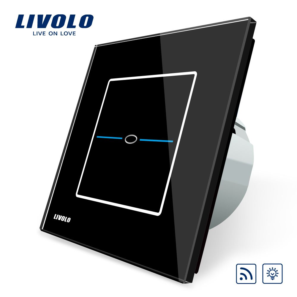 Livolo EU Standard,VL-C701DR-32,Black Glass Panel, AC 220~250V Wall Light Remote Dimmer Electrial Switch,No remote controller