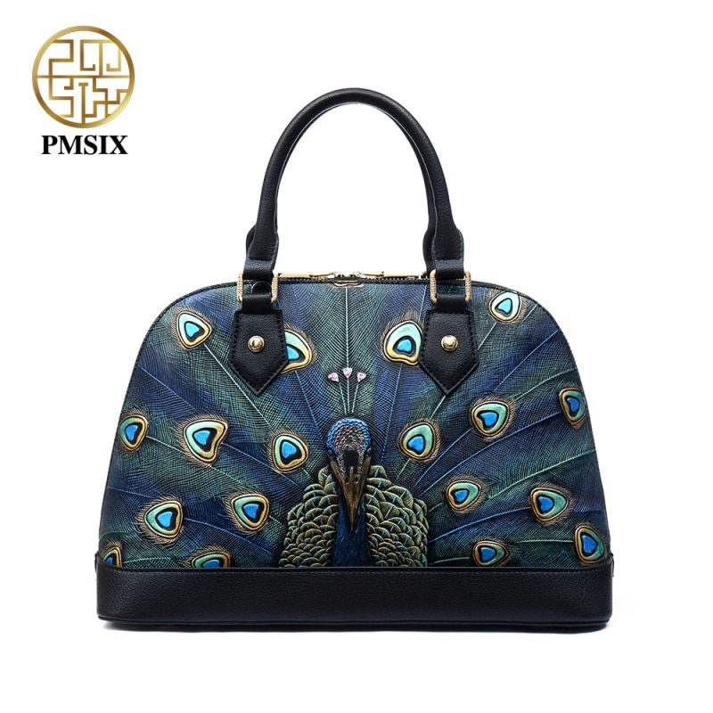 Pmsix Embossed Animal prints Genuine Leather Shell Bags Brand Women Designer Handbags convenient solid High quality Women Bag