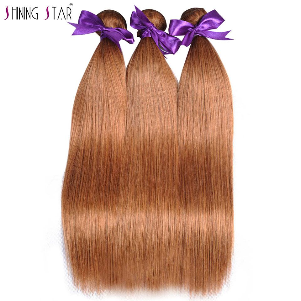 Gold Blonde 3 Bundles Brazilian Straight Human Hair Color 30 Hair Weave 10-26 Inches Deals Shining Star Non Remy Can Be Restyle