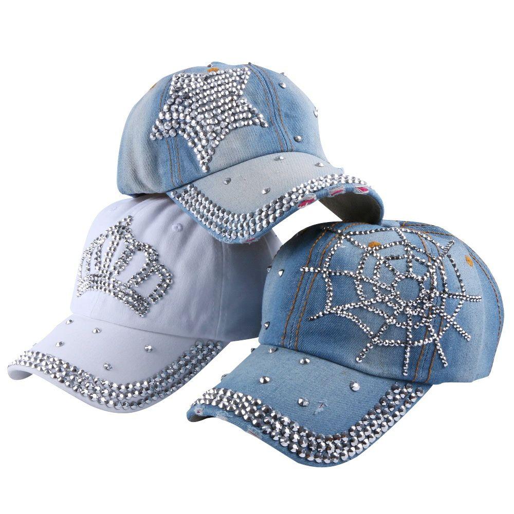 Chaud en gros printemps été automne populaire femmes fille femme denim snapback casquette strass croix équipée casquettes de baseball chapeaux
