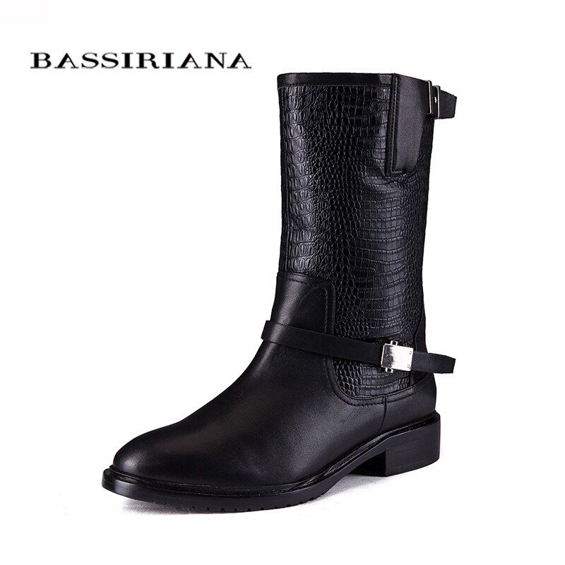 2017 new winter boots with fur Genuine leather shoes woman Big sizes 35-40 High quality shoe for womens BASSIRIANA