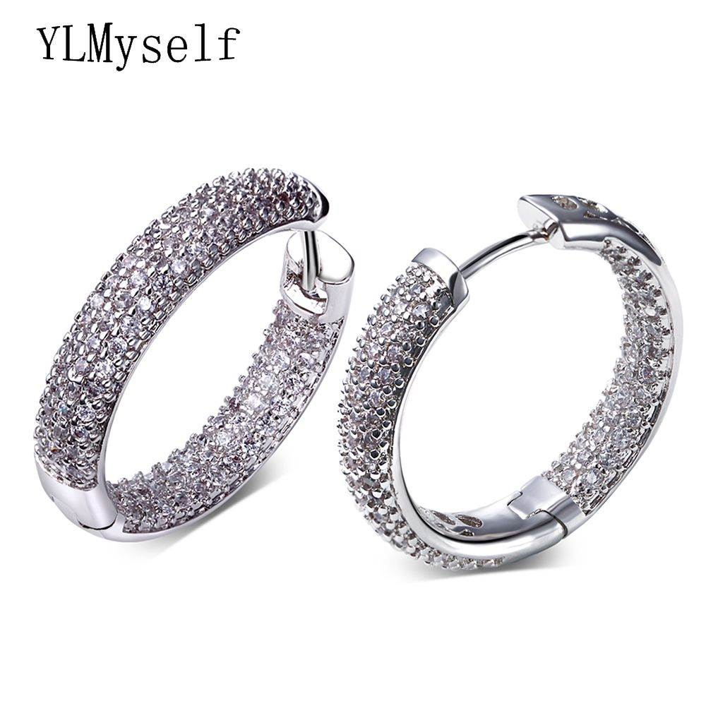 Hoop earring for night bar party Women Circle Earrings Micro setting Cubic <font><b>Zirconia</b></font> crystal allied express bijoux Jewelry