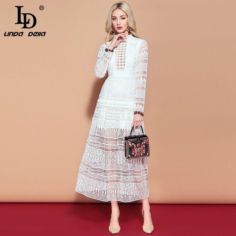 LD LINDA DELLA Maxi Lange Kleid frauen Langarm Spitze aushöhlen Stickerei Kleid Solide Weiß Elegante Formale Partei kleider